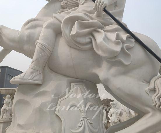 Marble sculpture of Roman soldier on horseback