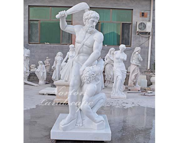 Marble roman figure fighting statue
