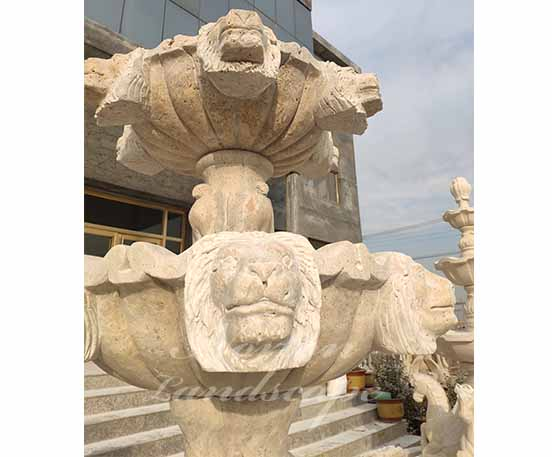 Antique Travertine lion head fountain