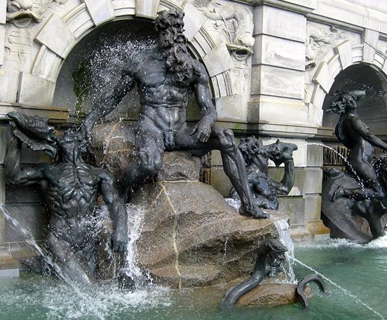 Bronze roman figure water fountain