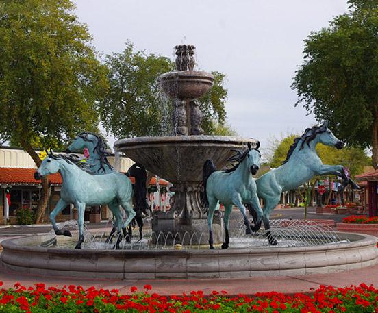 Bronze horse statue fountain
