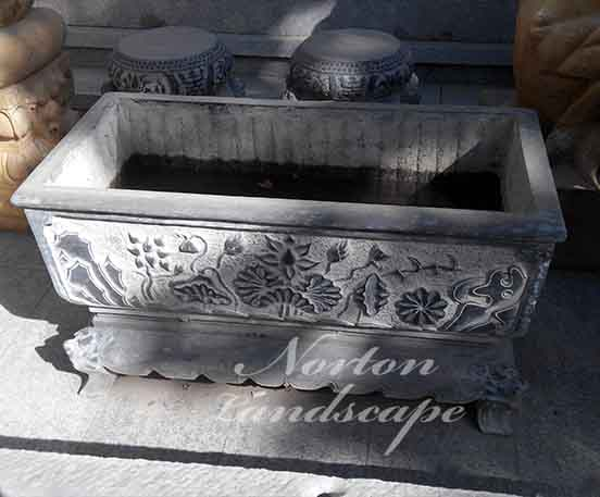 Antique chinese style square stone flower pots