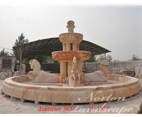 Large sunset red marble horse fountain