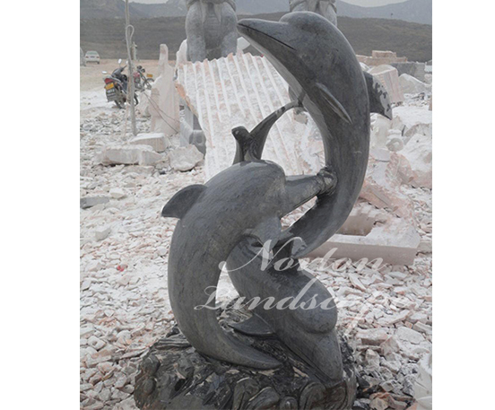 Marble dolphin statue