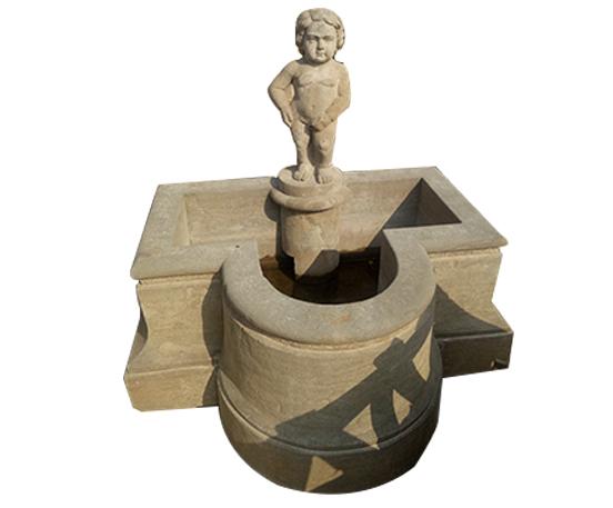 Antique granite children statue fountain