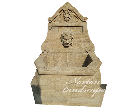 French style antique granite man head statue wall fountain