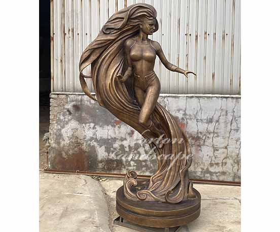 Bronze abstract woman statue