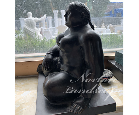 Bronze Fernando Botero fat lady statues