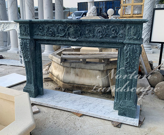 Green luxury antique fireplace