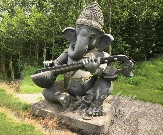 Garden stone ganesha with Musical instrument
