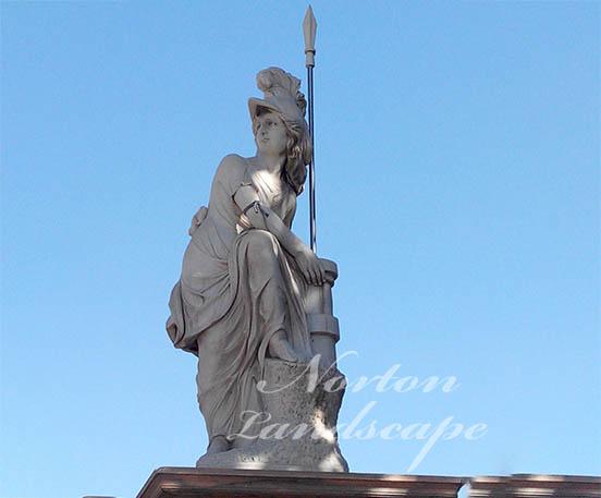 White marble stone roman man soldier statue