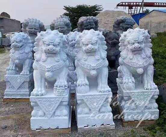Marble foo dog statues