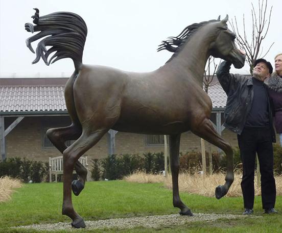 A pair jumping horse bronze statue