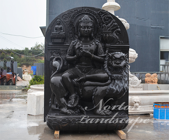 Black marble Manjushri statue