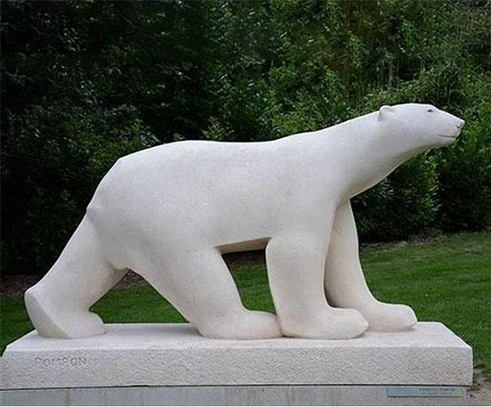 Garden decor stone polar bear statue